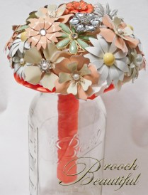 coral mint brooch bouquet 2