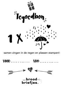 Zingen in de regen Broodbriefjes