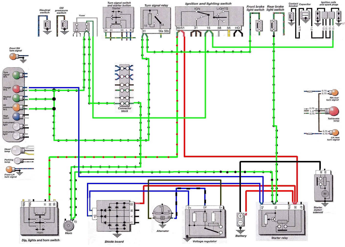 5 Series Electrical Components Brooks Airhead Garage Start Relay Wiring Diagram Partial Showing Blue Wires From Charge Indicator Lamp That Create Path To Ground At Starter Terminal D Click Enlarge