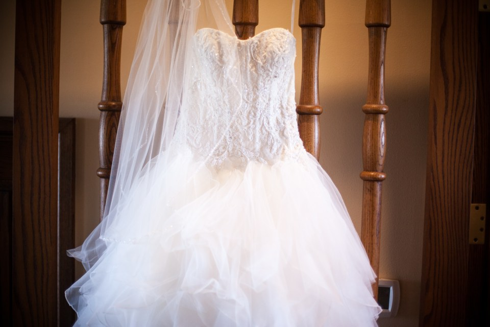 white ballroom wedding dress