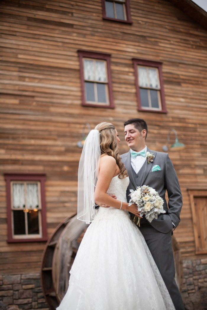 rustic bride and groom