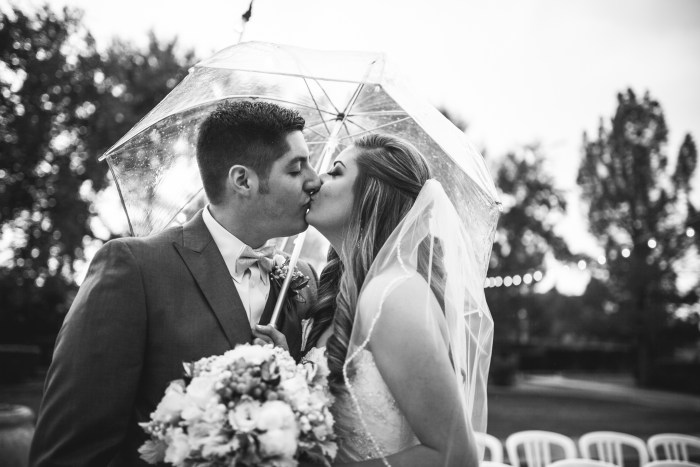 rainy day wedding kiss under a clear umbrella