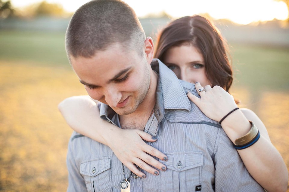 childhood sweethearts proposal with grey diamond engagement ring