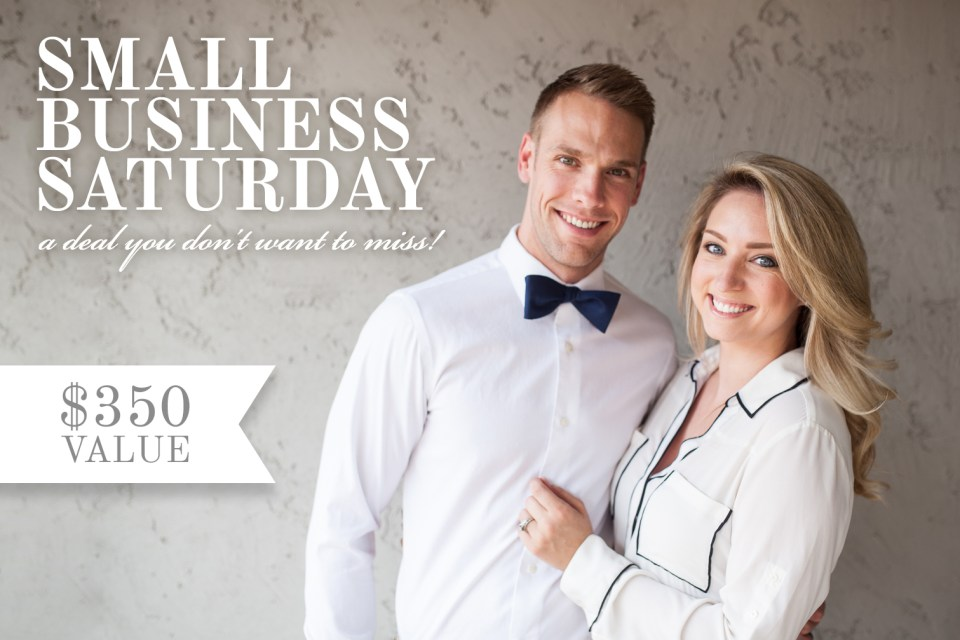 small business saturday wedding photography deal