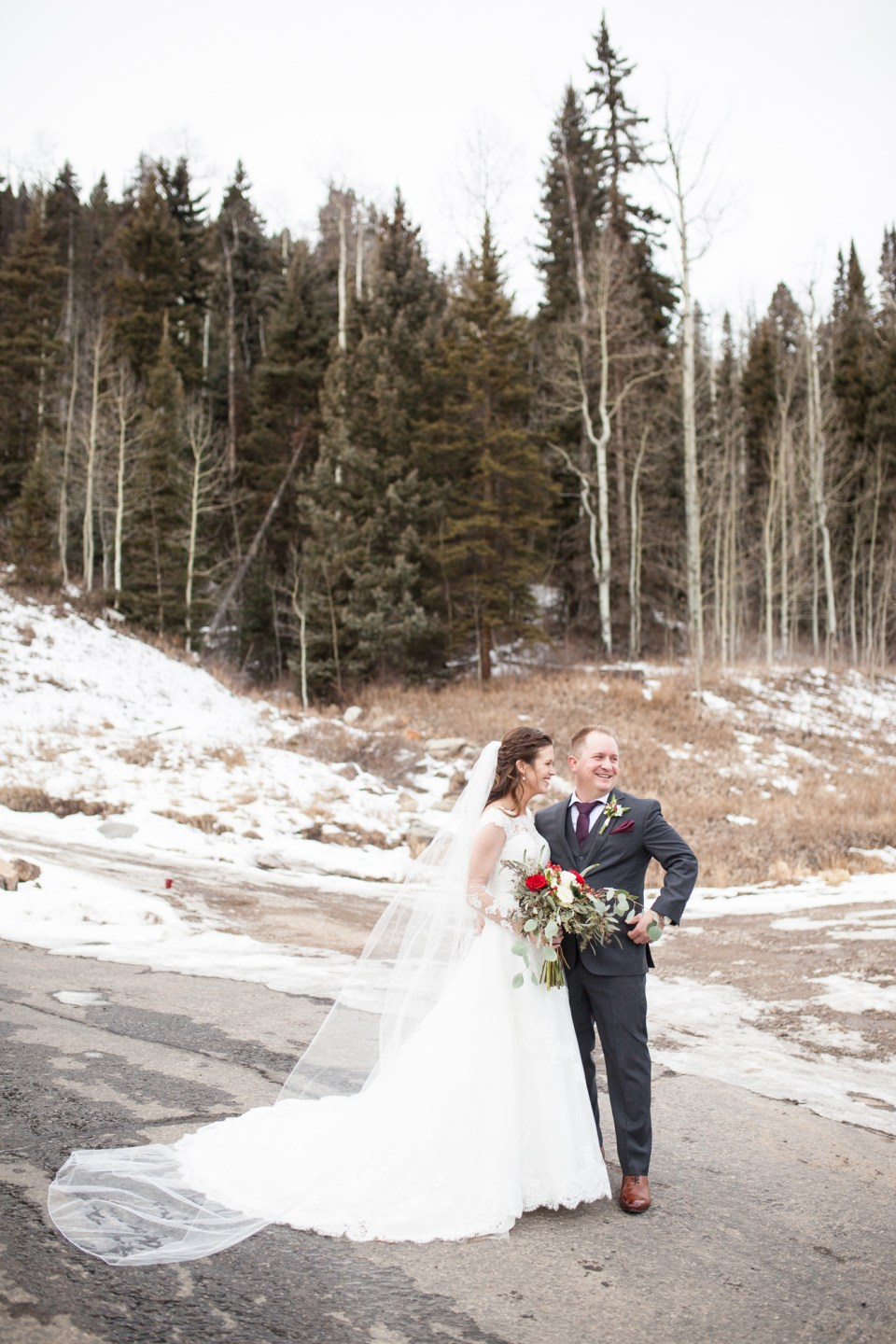 Durango, Colorado Winter Wedding ideas bride and groom in the snow