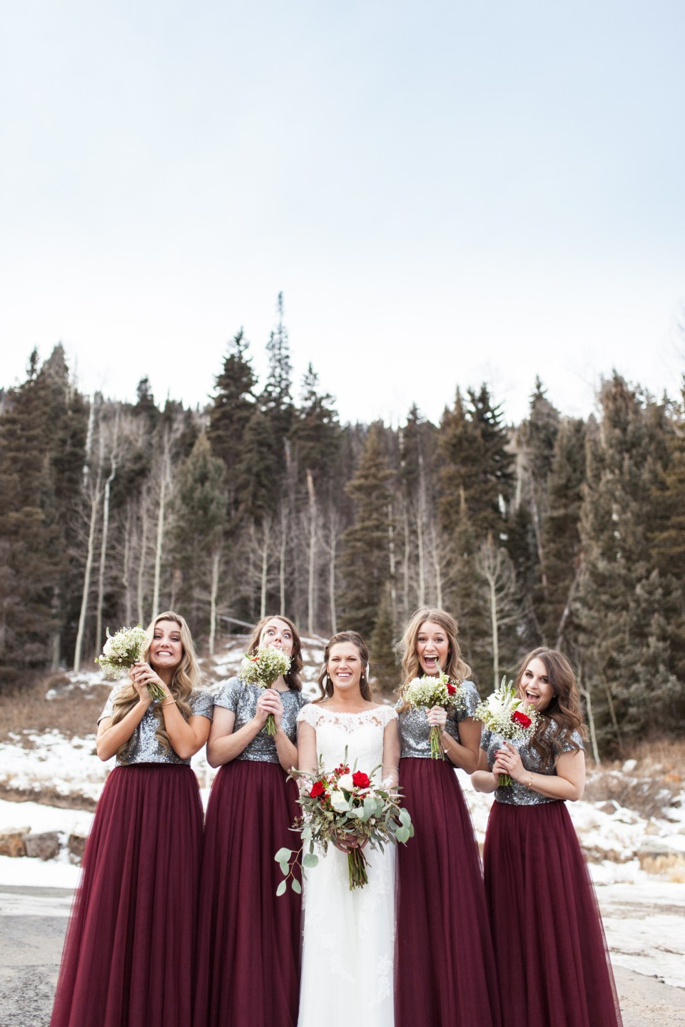 maroon and sequins bridesmaids dresses for winter wedding ideas, durango colorado winter wedding inspiration, laughing bridesmaids