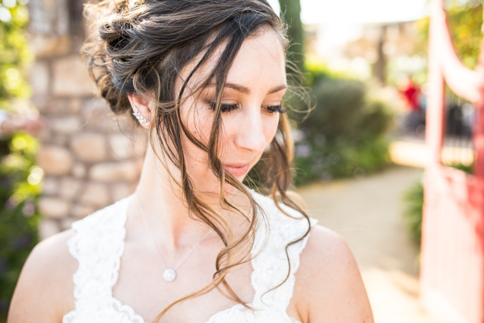 bride with flowing hair