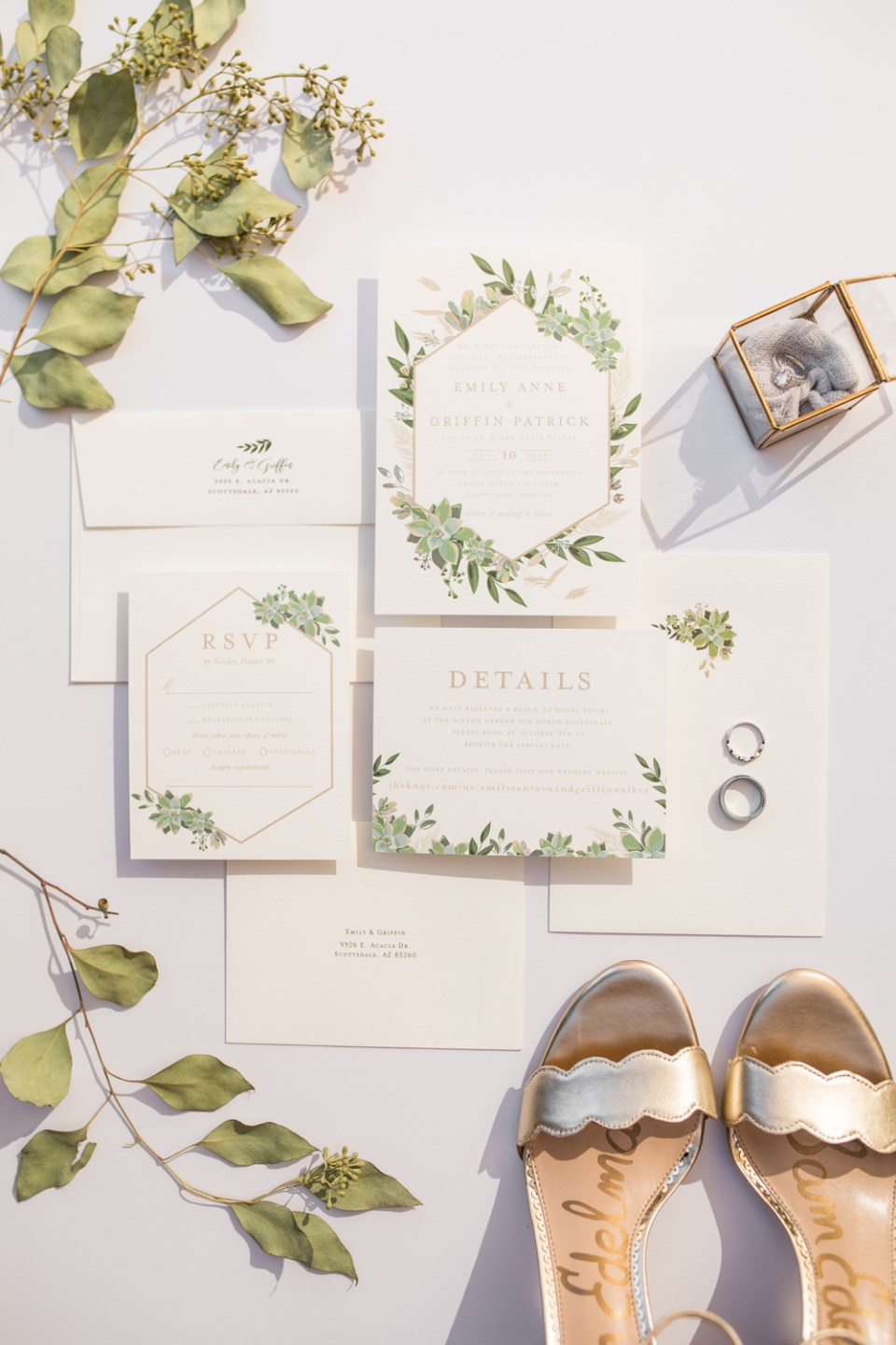 minted wedding invitation suite real wedding flat lay