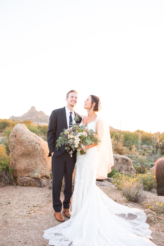troon north wedding bride and groom desert wedding