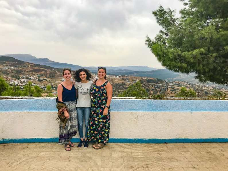 Me, Hind, and Katy at the Hotel Atlas Chaouen