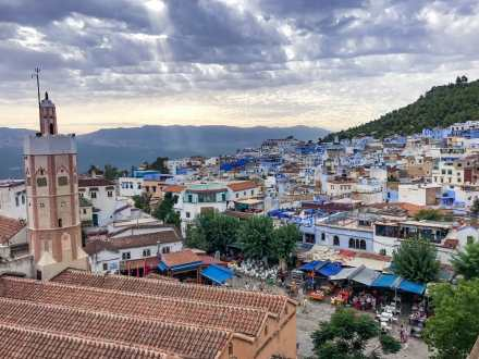 Looking out over a stormy Chefchaouen