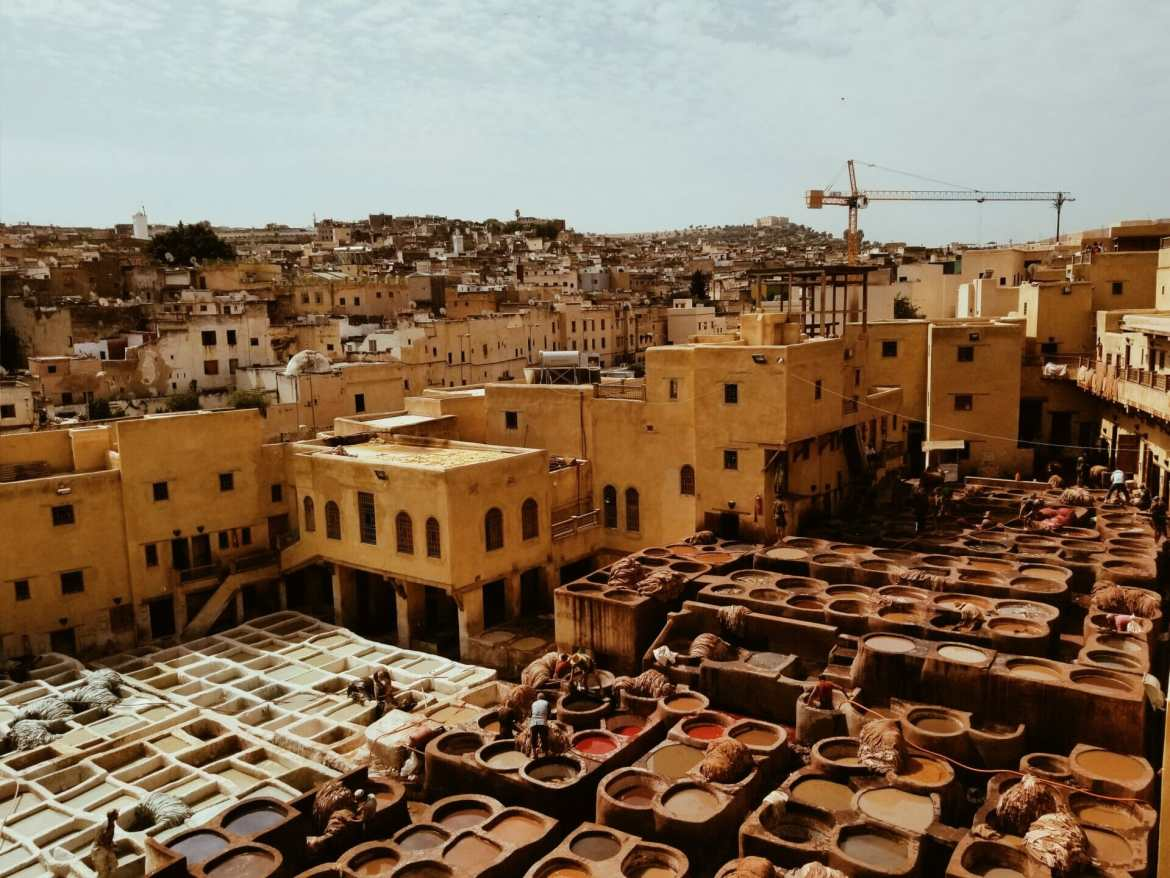 View over tanneries in Fes Morocco