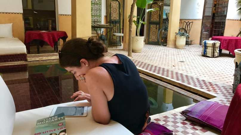 Catching up on my writing in the riad