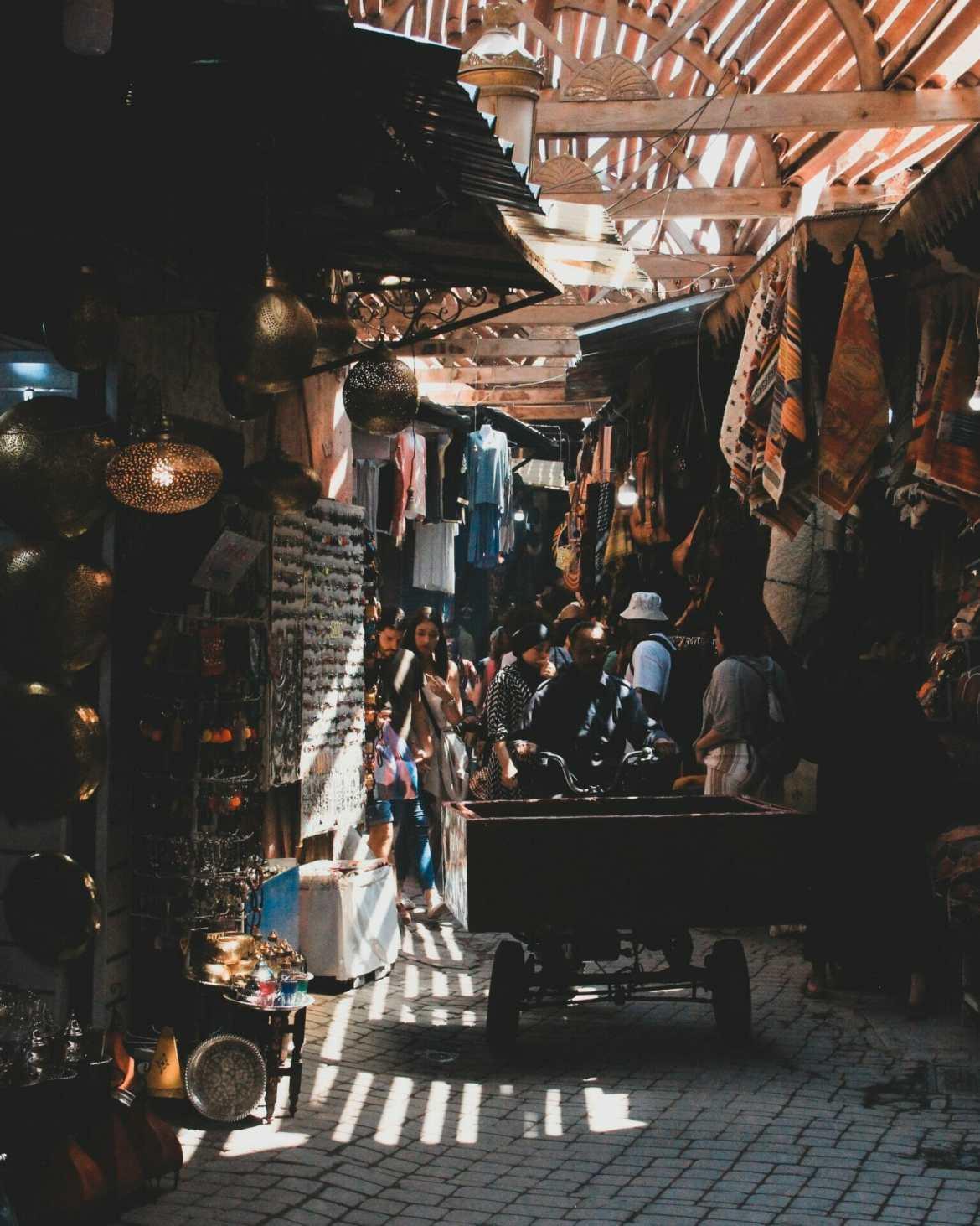 Busy souks of Marrakech Morocco