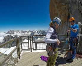Climbers at Aiguille du Midi
