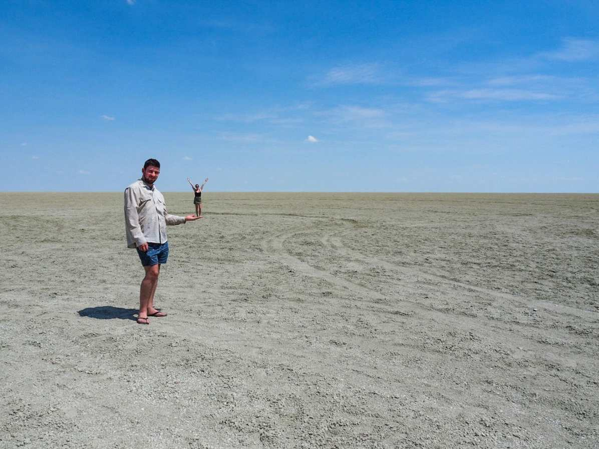 Posing on the salt pan