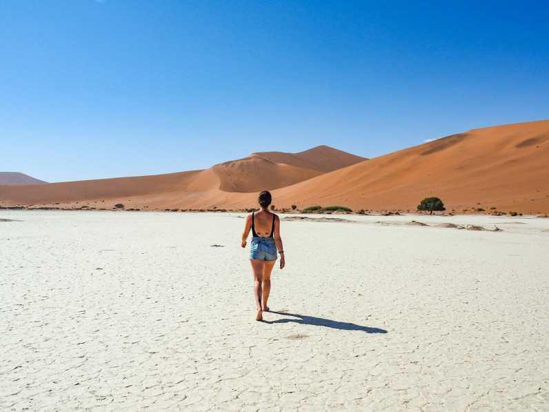 Walking across the salt pan