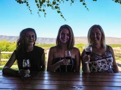 Di, me, and Nicole enjoying our wine