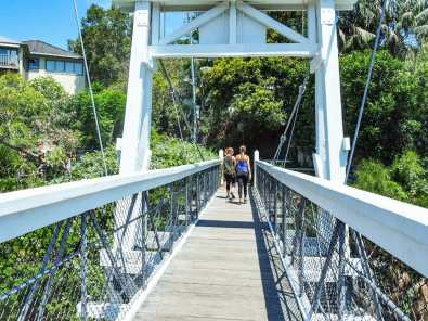 The suspension bridge across Parsley Bay
