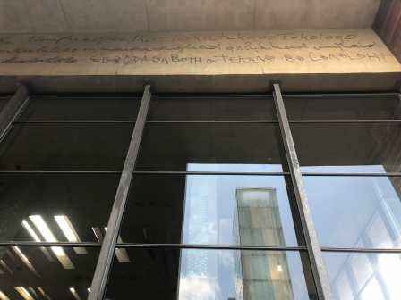 """Dignity, equality, and freedom"" scrawled into the cement by the original justices of the Court"