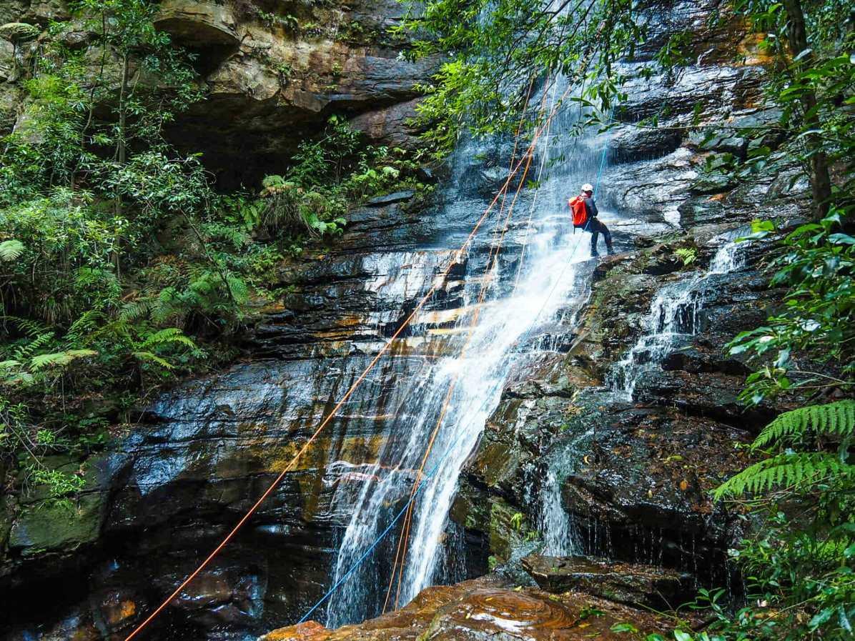 Abseiling down Empress Falls