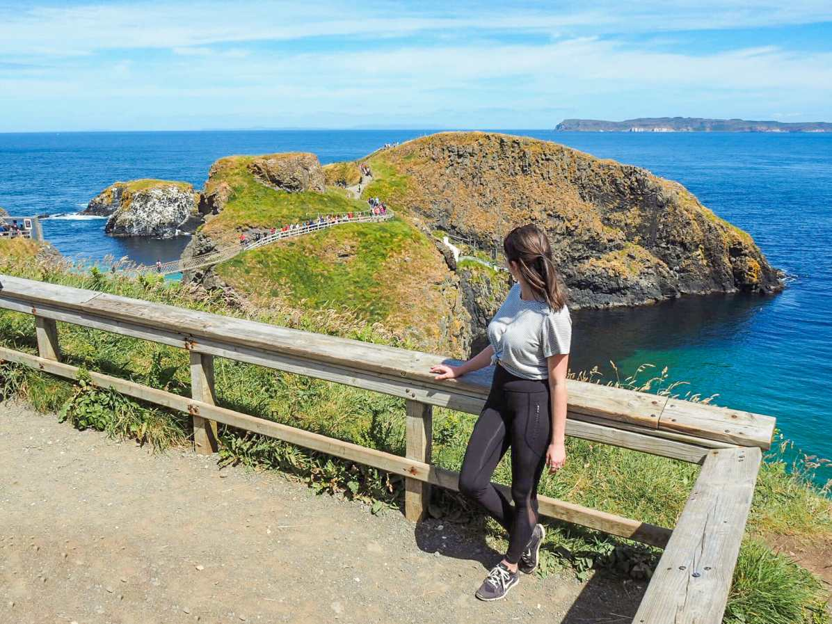 Carrick-a-Rede island and the little rope bridge in the distance