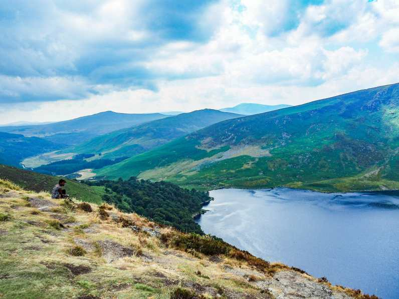 Enjoying the view over the Guinness Lake in County Wicklow