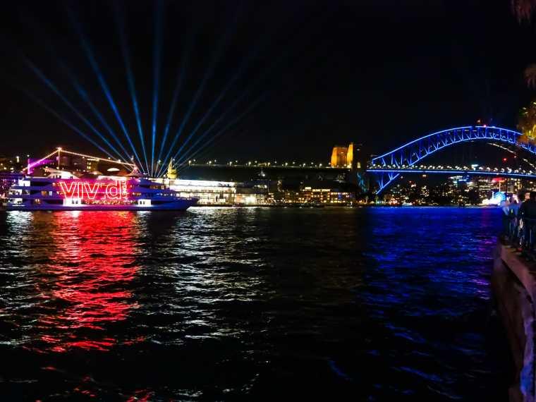 The Harbour Bridge aglow for Vivid