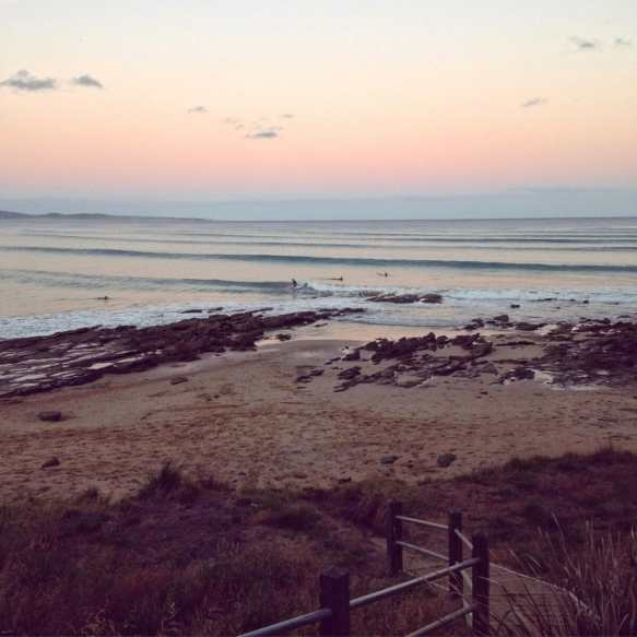 Lorne beach at sunset