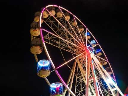 Ferris Wheel lit up for Vivid