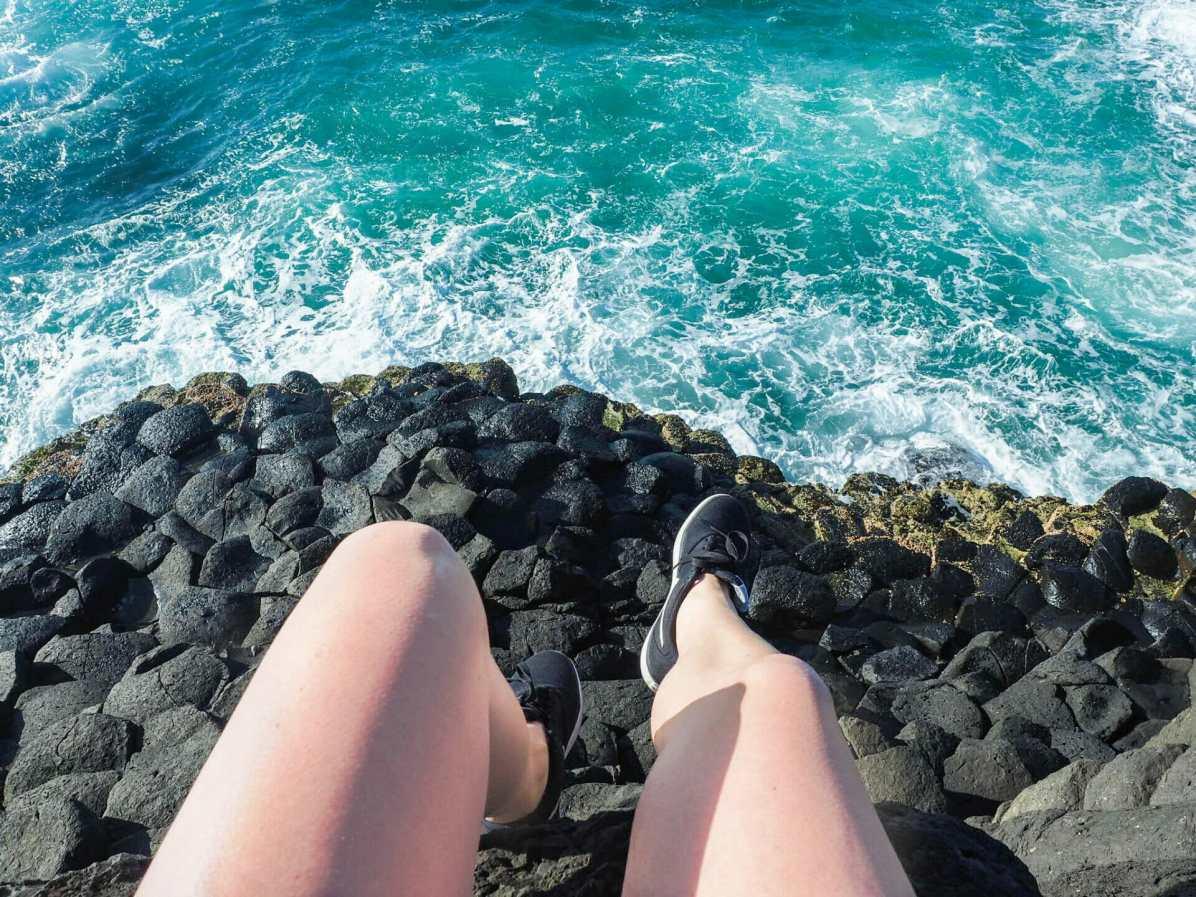 Dangling over the basalt columns