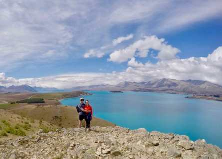 View over the unbelievably blue Lake Tekapo