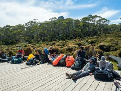 The gang taking a rest at Pelion Hut