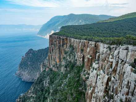 Dolerite cliffs and permian siltstone