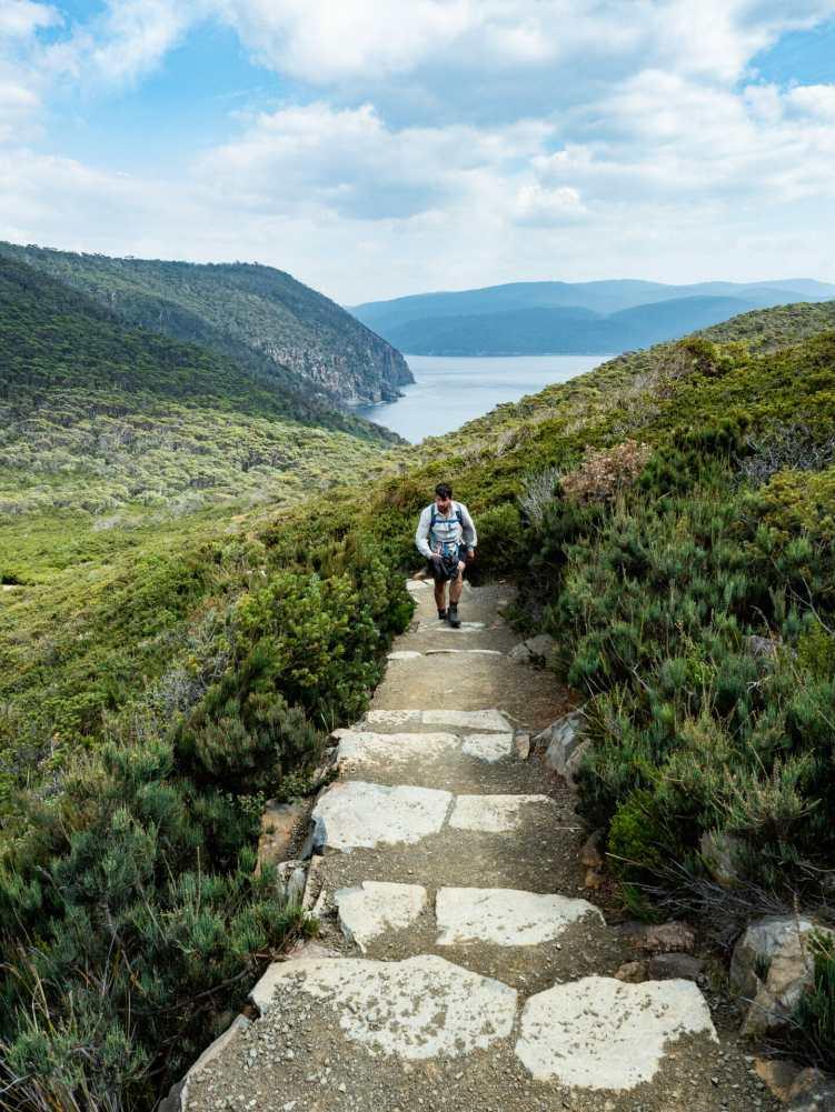Callum ascending towards Cape Huay