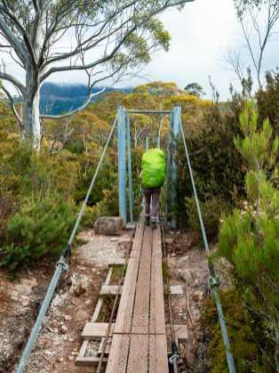 Crossing the suspension bridge