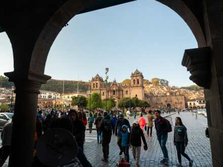 Looking into the Plaza de Armas