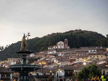 Pachacuti statue in the Plaza de Armas