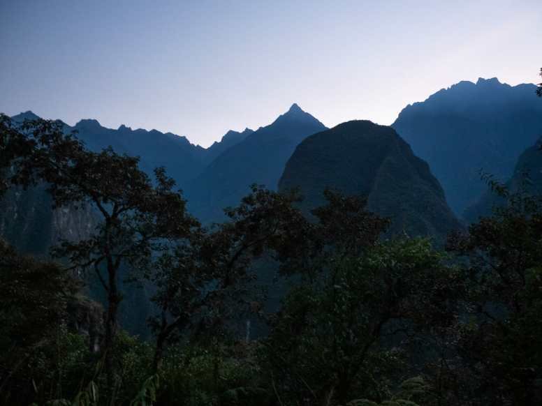 Mountain silhouettes around Machu Picchu