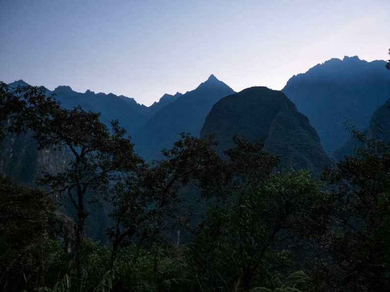 Mountain silhouettes around Machu Picchu