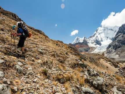 Dad ascending towards the pass