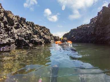 Woman snorkelling at Las Tintoreras
