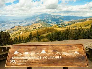 Sign showing Quito's volcanos from Pichincha