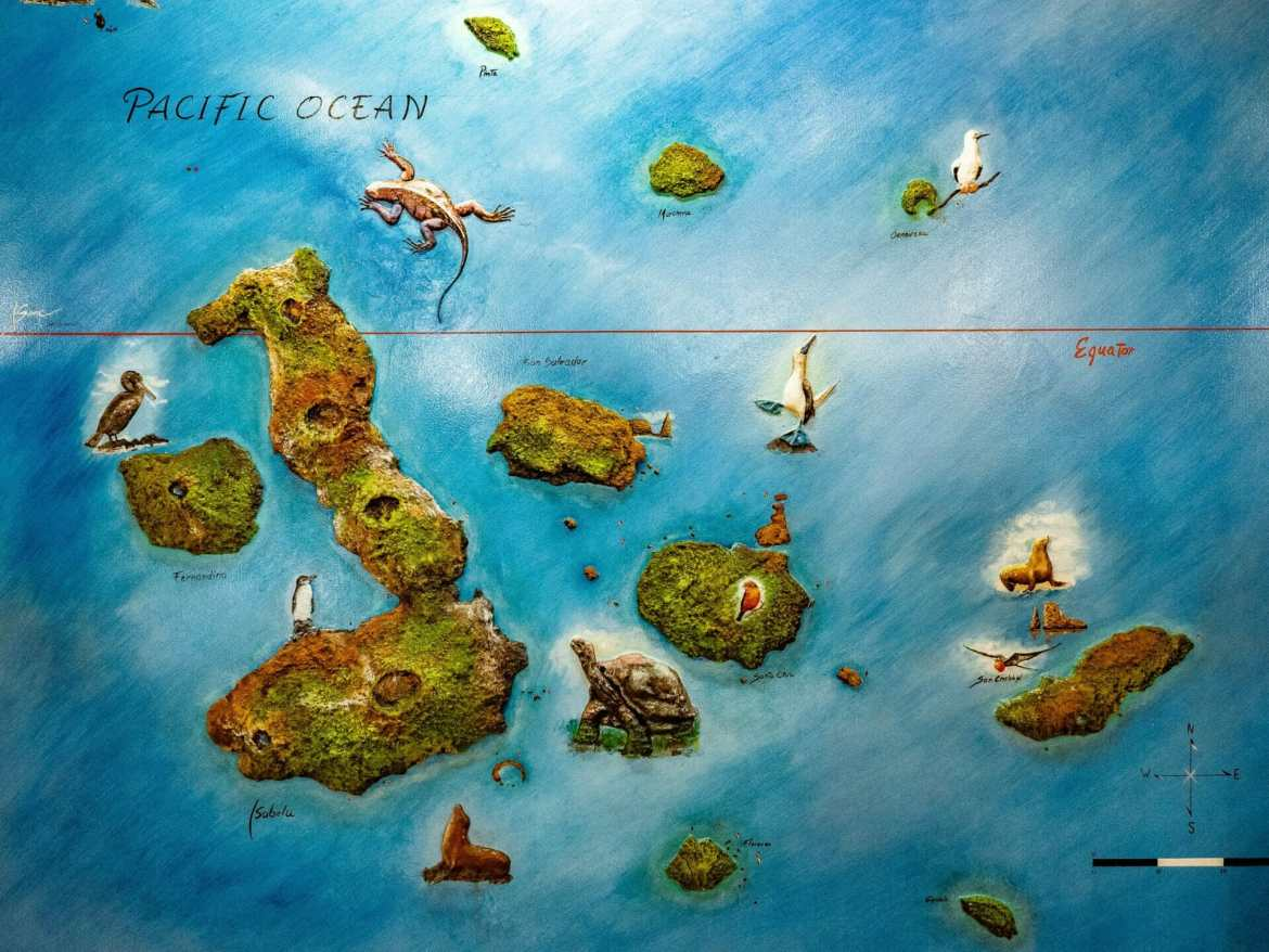 Painted map of the Galápagos Islands