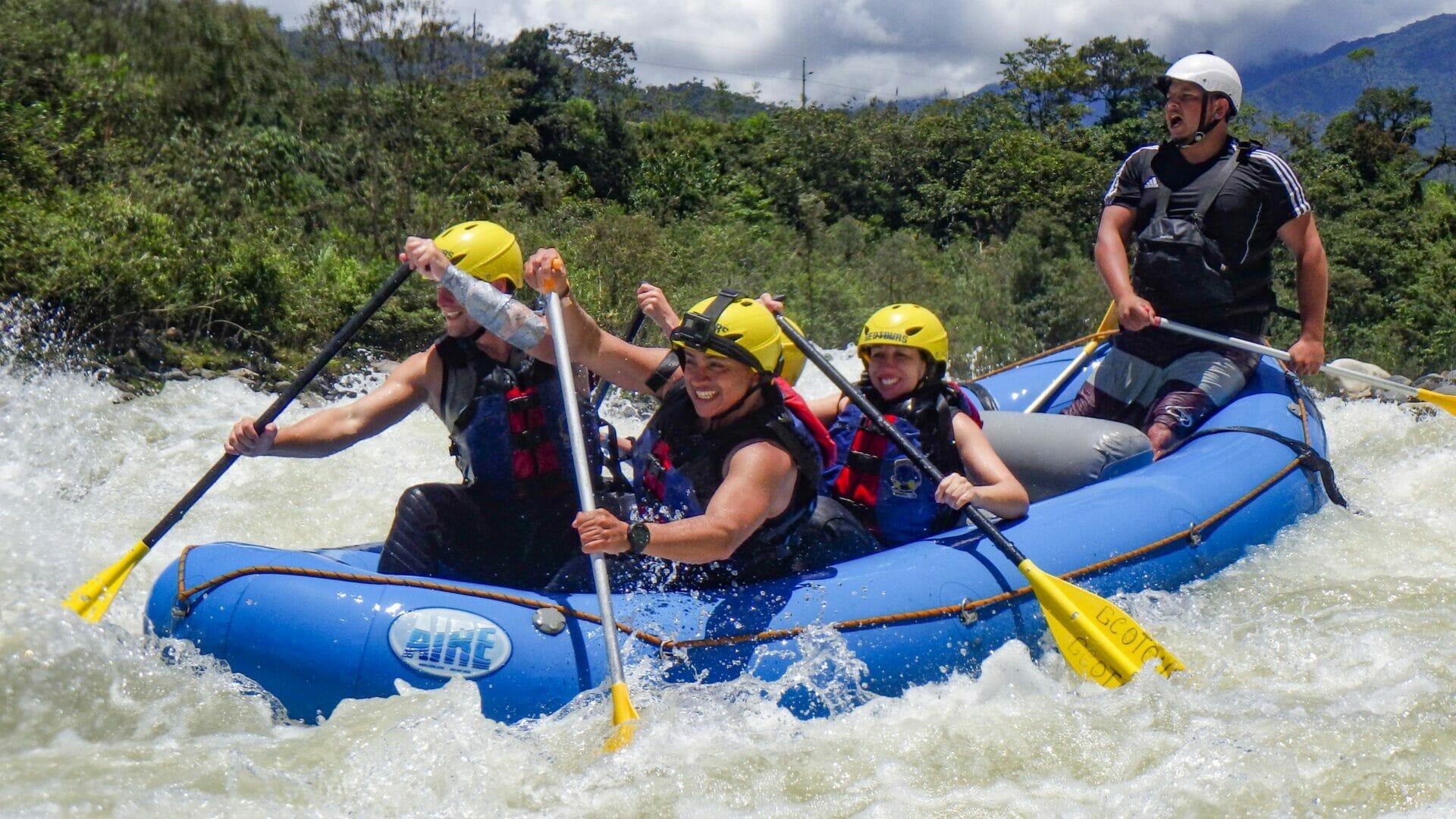 Group white water rafting on Rio Pastaza Baños