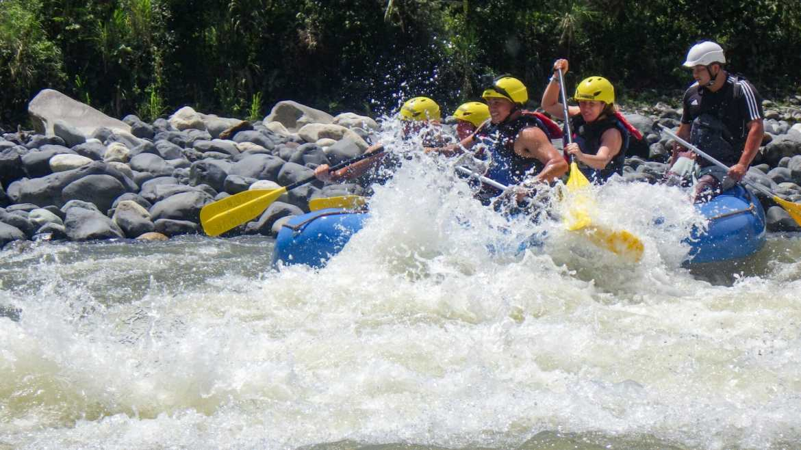 white water rafting on river in Baños