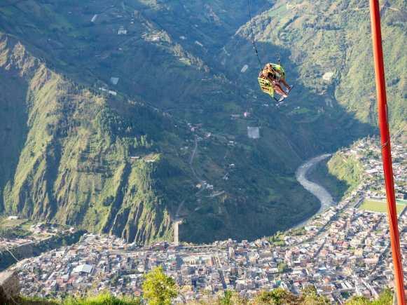 Giant swing over mountains in Baños Ecuador