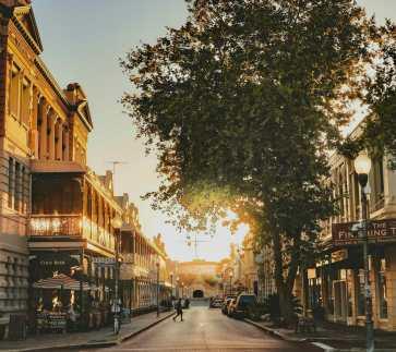 Sunset on street Fremantle Western Australia
