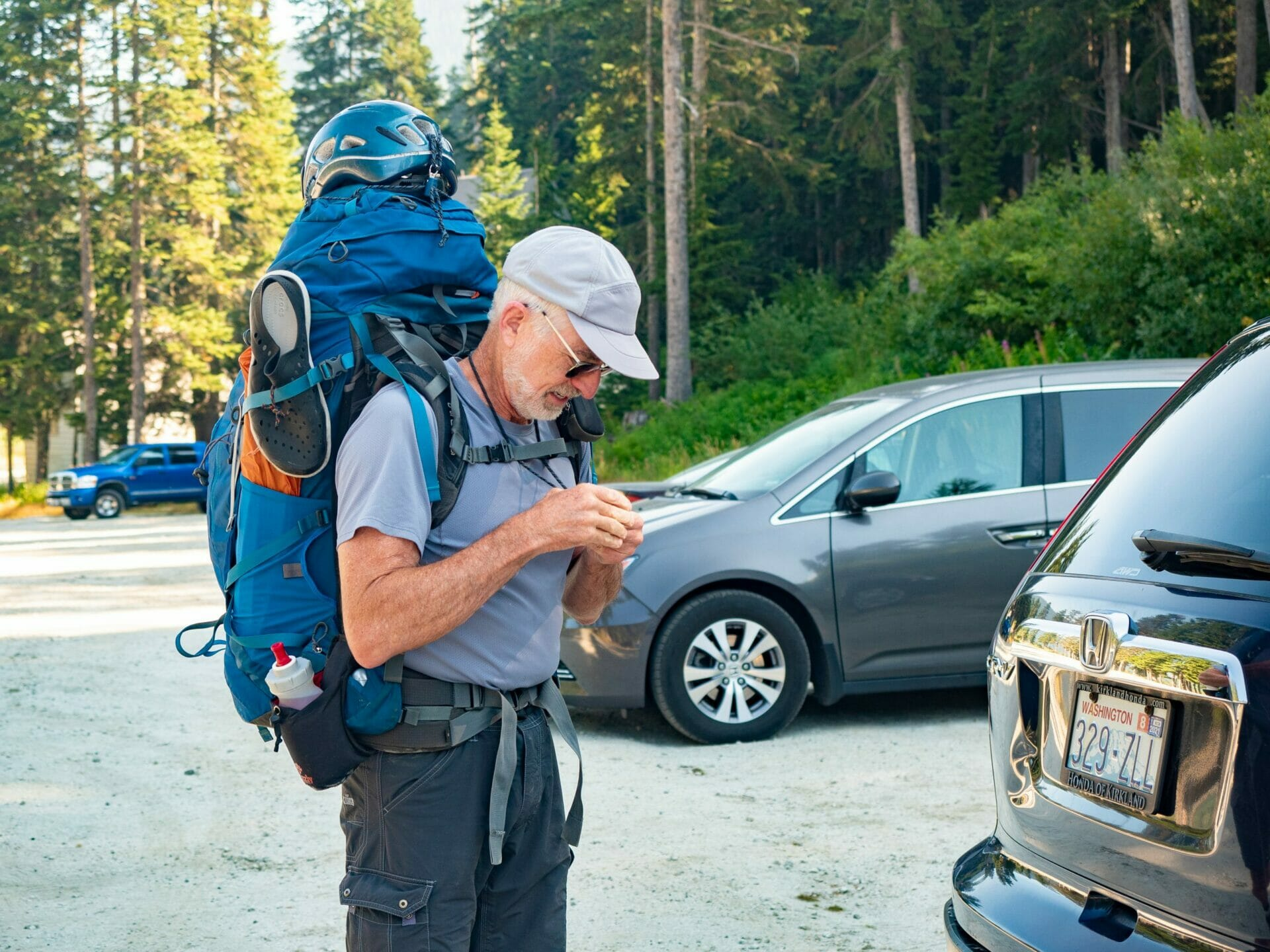 Man in backpack Alpine Lakes Wilderness