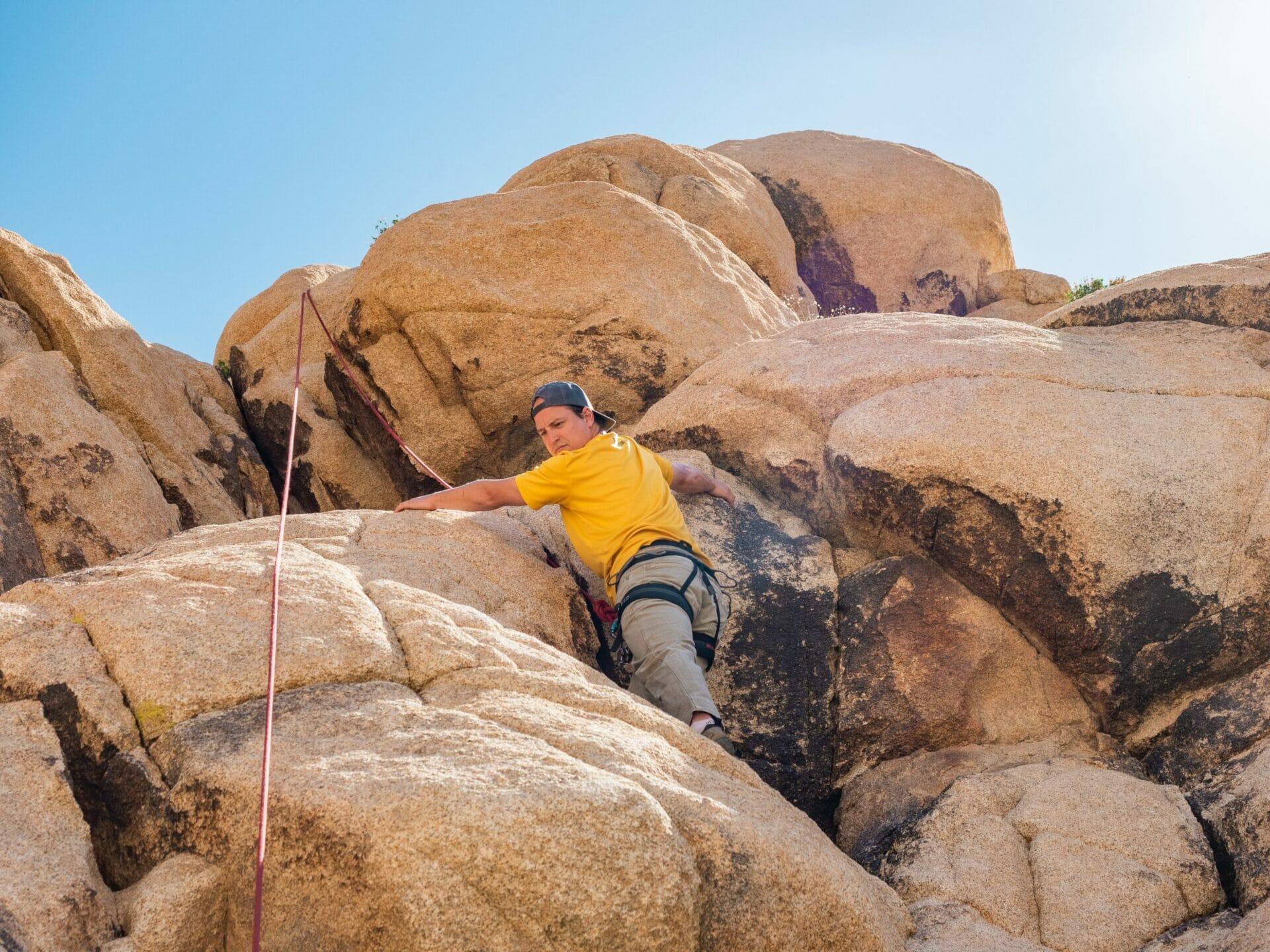 Rock climbing Spider Wall Indian Cove Joshua Tree National Park